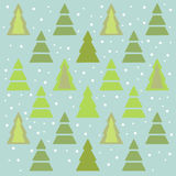 Christmas trees. Pattern of different winter green firs Stock Photo