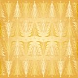 Christmas trees pattern gold Stock Images