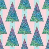Christmas trees pattern.. Christmas trees pattern. Happy New Year seamless background. Winter holidays stylish vector texture for wallpaper, wrapping paper Royalty Free Stock Image