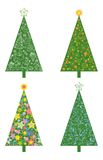 Christmas trees with patterns Stock Images