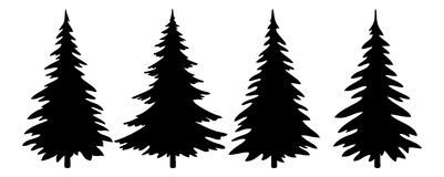 Christmas Trees Pictogram Set Royalty Free Stock Photo