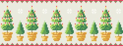 Christmas trees in a pot with snowflakes pattern. Merry Christmas greeting card, Happy New Year illustration. Christmas webbing. Royalty Free Stock Photo
