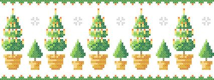 Merry Christmas greeting card, Happy New Year illustration. Christmas tree like cross-stitch. Christmas patternChristmas trees in. Christmas trees in a pot with royalty free illustration