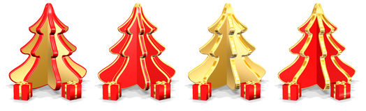 Christmas Trees With Presents Royalty Free Stock Photo