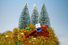 Christmas trees and presents Stock Image