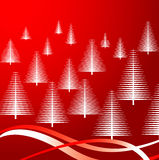 Christmas trees on red. Vector illustration of white Christmas trees on red background Royalty Free Stock Photo