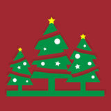 Christmas trees. With red background Stock Images