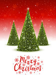 Christmas trees on red background. Christmas trees on shiny red background Stock Photos