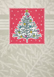 Christmas trees on red framed background royalty free illustration