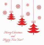 Christmas trees red ornaments Stock Photos