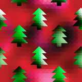 Christmas trees on red pixels background Stock Photography