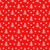 Christmas trees red and white pattern illustration. Christmas trees and stars seamless abstract symbolic red and white pattern. Vector illustration Stock Photo