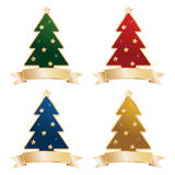 Christmas trees with ribbons Stock Images