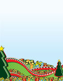 Christmas Trees Roller Coaster. Christmas trees and hills with a roller coaster theme vector illustration