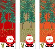 Christmas trees with santa Stock Images