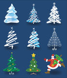 Christmas trees and Santa Claus. Stock Photo