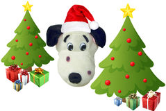 Christmas trees and a santa puppy Stock Photography