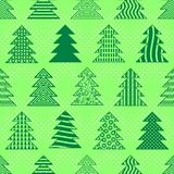 Christmas Trees, Seamless. Seamless Background with Green Christmas Fir Trees, Winter Symbols, Holiday Tile Pattern. Vector Stock Images