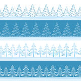 Christmas Trees, Seamless. Christmas Horizontal Seamless Background, Landscape with Fir Trees, Winter Holiday Illustration. Vector Royalty Free Stock Photo