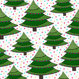 Christmas trees seamless pattern. Green vector wrapping texture with New Year trees.  Royalty Free Stock Image