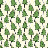 Christmas trees seamless pattern. Vector wrapping New Year design.   Royalty Free Stock Photography
