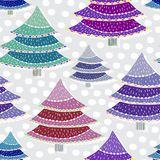 Christmas trees seamless pattern. Vector wrapping texture for New Year holidays. Bright colorful background. Royalty Free Stock Photos