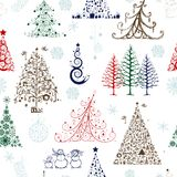 Christmas trees, seamless pattern for your design Stock Photography