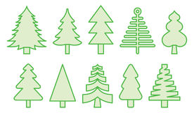 Christmas trees. A series of filled outline vector illustrations of green Christmas trees Stock Image