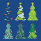 Christmas trees - set 1. Vector illustration set - six decorative Christmas trees Royalty Free Stock Photos