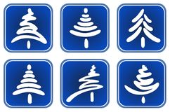 Christmas trees set Stock Photo