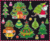 Christmas trees set. Vector set of different Christmas trees Stock Photography