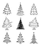 Christmas trees, set. Christmas trees set, black pictogram isolated on white background, winter holiday symbols Royalty Free Stock Images