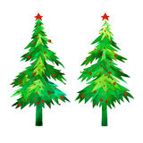Christmas trees set. Christmas time green trees and red ball or snowfall watercolor hand painted. Royalty Free Stock Image