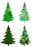 Christmas Trees, Set Royalty Free Stock Photography