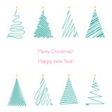 Christmas trees set. Hand drawing line graphic christmas tree. Stock Images