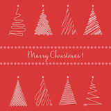 Christmas trees set. Hand drawing line graphic christmas tree on the red background. Royalty Free Stock Photo
