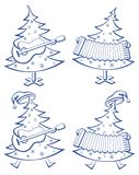 Christmas trees, set, musicians. Christmas trees with guitar and accordion, pictograms set Royalty Free Stock Photography