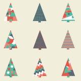 Christmas trees. Set of nine Christmas trees Stock Photo