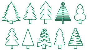 Christmas trees. A set of outline style vector art illustrations of christmas trees with green color Royalty Free Stock Image