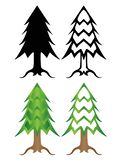 Christmas trees A set of stylized colored and black and white Christmas trees. stock illustration