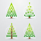 Christmas trees, set of stylized vector icons Royalty Free Stock Photography