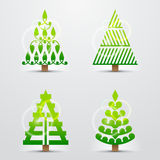 Christmas trees, set of stylized vector signs Stock Photo