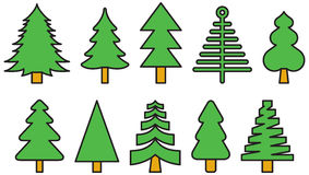 Christmas trees. A set of various Christmas trees in filled line art style drawing Royalty Free Stock Photo
