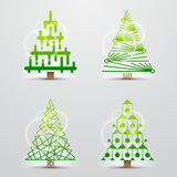 Christmas trees. Set of vector signs (symbols) Stock Photo