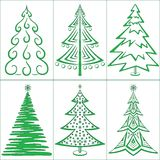 Christmas trees, set Stock Photo