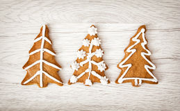 Christmas trees shaped gingerbread cookies, Yuletide, Merry Chri Stock Photos