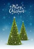 Christmas trees on shiny background Stock Photo