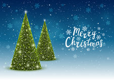 Christmas trees. On shiny night background Royalty Free Stock Photography