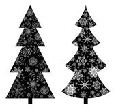 Christmas trees, silhouette. Christmas trees, holiday symbol, black silhouette on white background, with contours snowflakes and flowers Stock Photography