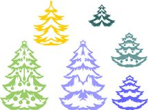 Christmas trees silhouette Stock Image